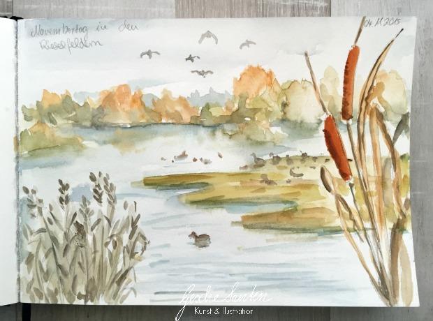 Natur Skizzenbuch im Herbst, Rieselfelder bei Münster, Aquarell, Herbsttöne mischen