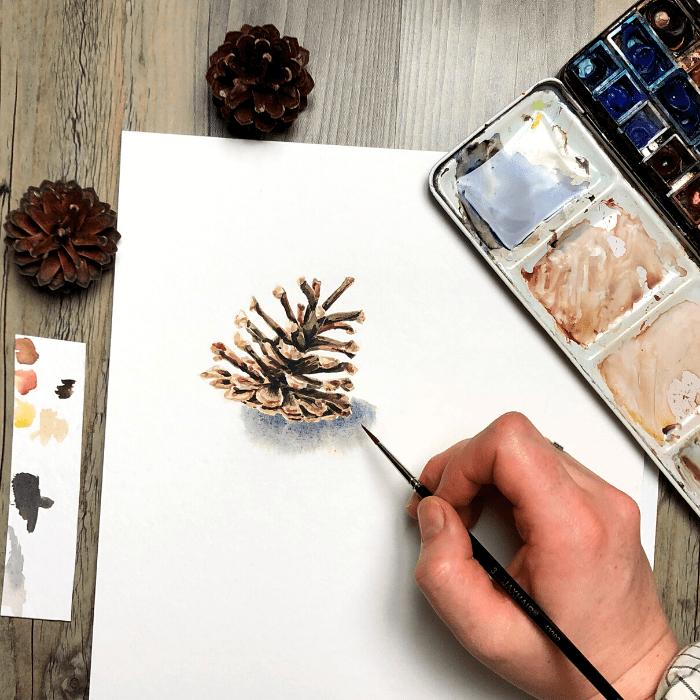 Winterliche Zapfen in Aquarell – Einfache Schritt für Schritt Anleitung