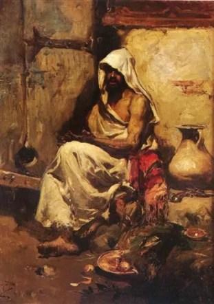 Man hofft inständig, Dronen werden den Impressionismus ersetzen – Joaquín Sorolla: Araber, der eine Pistole überprüft (1881), Quelle: http://www.wikiart.org