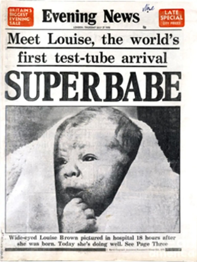 "Louise Brown, das erste ""test-tube""-Baby, 1978, Quelle: culture24.org.uk"
