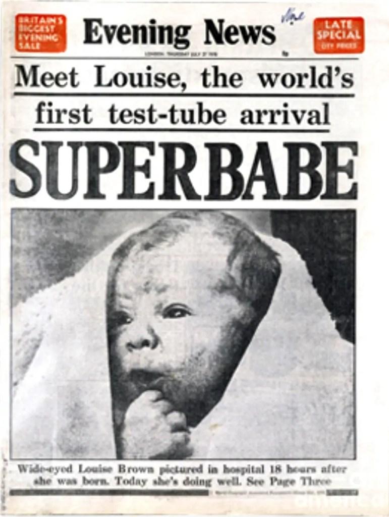"Louise Brown, das erste ""test-tube""-Baby, 1978, Quelle: culture24.org.uk"