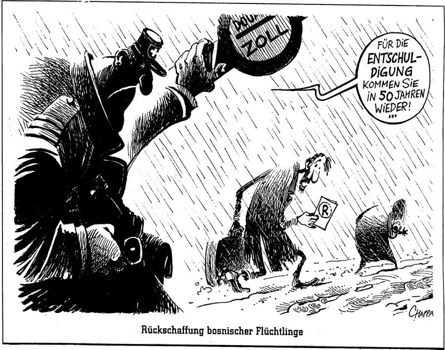 """Unmenschlichkeit der Gegenwart später gemäss gehabter Praxis mit Entschuldigungen """"wiedergutmachen""""? Quelle: Weltwoche Nr. 28, 1997"""