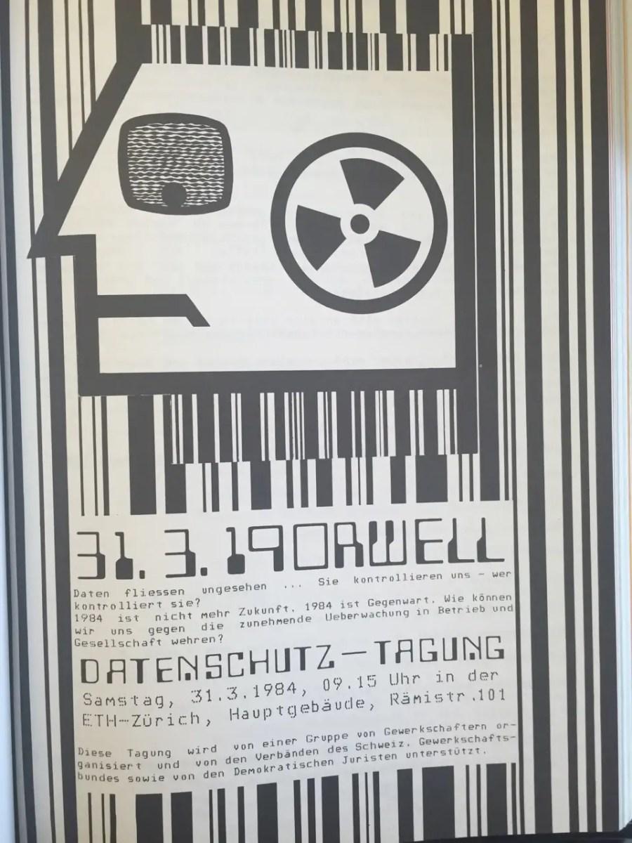 """Plakat zur """"Datenschutztagung"""" von 1984 an der ETH."""