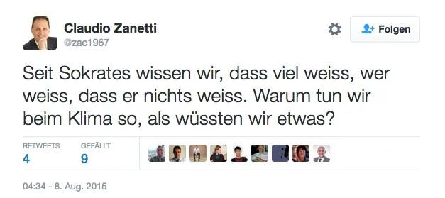 Tweed von SVP-Nationalrat Claudio Zanetti, gelöscht; Quelle: twitter.com