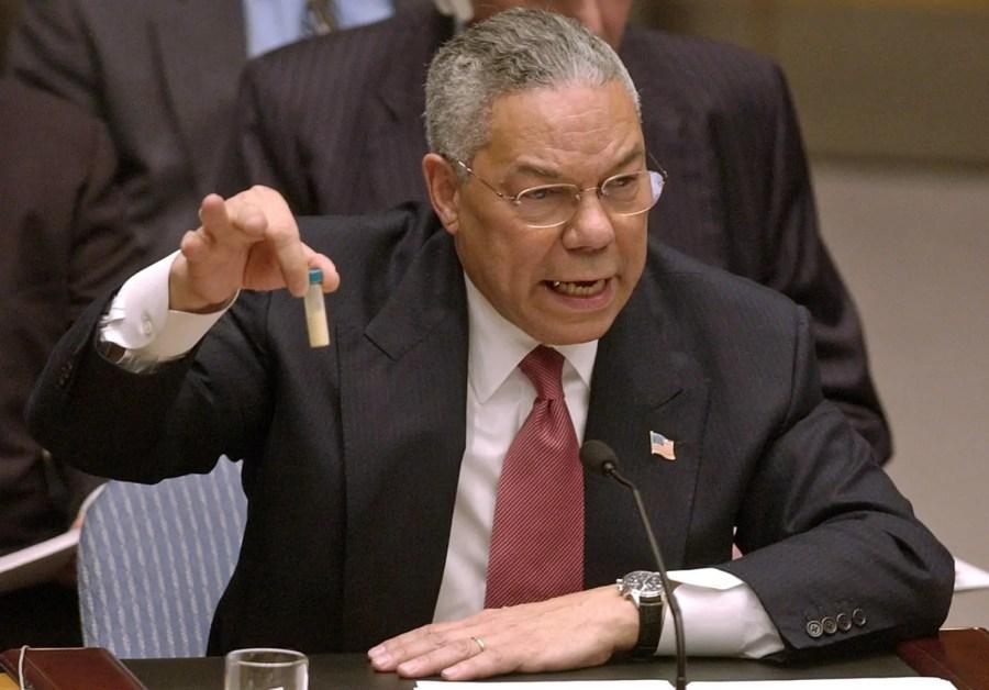 U.S. Aussenminister Colin Powell behauptet am 5. Februar 2003, der Iraq produziere in mobilen Produktionsanlagen die Biowaffe Anthrax - es war eine glatte Lüge; Quelle: nbcnews.com