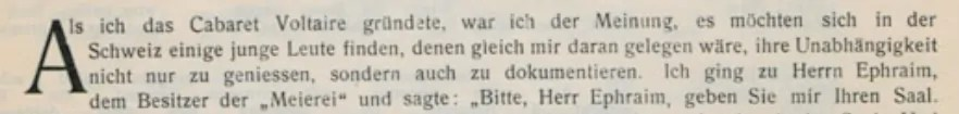 Auszug aus dem Vorwort Hugo Balls zur ersten und einzigen Nummer der Zeitschrift 'Cabaret Voltaire'. Quelle: www.lib.uiowa.edu/dada/