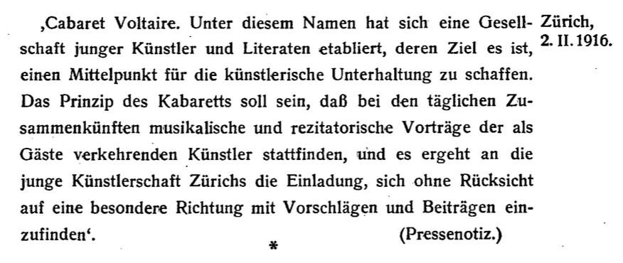 Pressenotiz vom 2. Februar 2016, Bildzitat aus der Erstausgabe von Hugo Balls 'Flucht aus der Zeit' von 1927