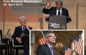 """Am 29. April 2013 wurde in Washington der 20. Jahrestag des """"Holocaust Museums"""" gefeiert. Festredner war wieder einmal Starlügner und Museumsgründer Elie Wiesel. Er wurde flankiert von so Prominenten wie Ex-US-Präsident Bill Clinton, der Wiesel die Ehre als """"lebender Zeuge des Auschwitz-Holocausts"""", wie Wiesel genannt wird, erwies. Auch der BRD-Verteidigungsminister, Thomas de Maizière, CDU, wurde in die Lügenparty des Elie Wiesel eingebunden. """"Morgens [Montag, 29.04.2013] waren Minister und Presse auf der 20. Geburtstagsparty des Holocaust Memorial Museums gewesen, hatten in großen weißen Zelten im strömenden Washingtoner Regen den Festansprachen von Gründer Elie Wiesel und Bill Clinton zugehört."""" (taz.de, 30.04.2013)"""