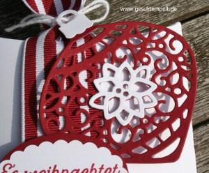 Stampin up, Pillow Box Quadrat, Zauberhafte Zierde, Am Christbaum, Fröhliche Weihnachten, www.geschtempelt.de