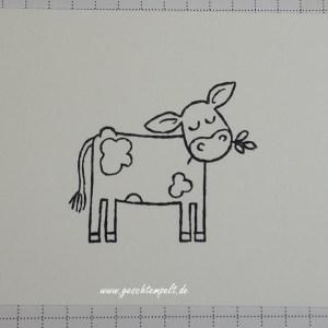 Stampin up, tierische Grüße, Spiegel Technik, Anleitung in Bildern, Mirror Technique, Tutorial, Geniale Grüße