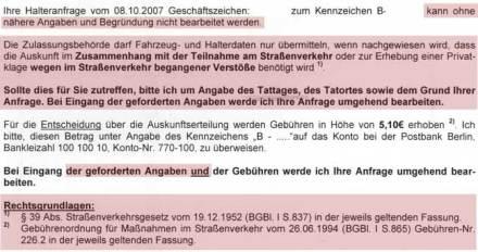 Ausriss aus Brief der KFZ-Zulassungsbehörde