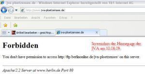 Screenshot vom 10.08.09 - Homepage jva-ploetzensee.de