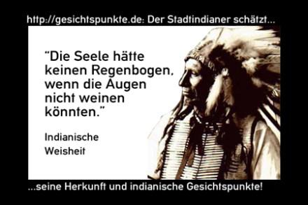 Indianer 01.11: Die Seele hätte keinen Regenbogen, wenn die Augen nicht weinen könnten.