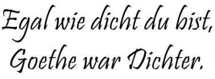 Goethe war Dichter!
