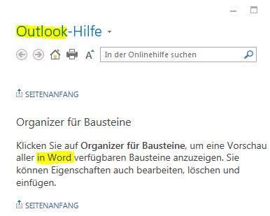Screenshot Microsoft Outlook Hilfe
