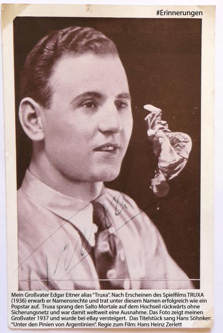Edgar Eitner aka Truxa - Hochseilartist der 30iger Jahre, Autogrammkarte