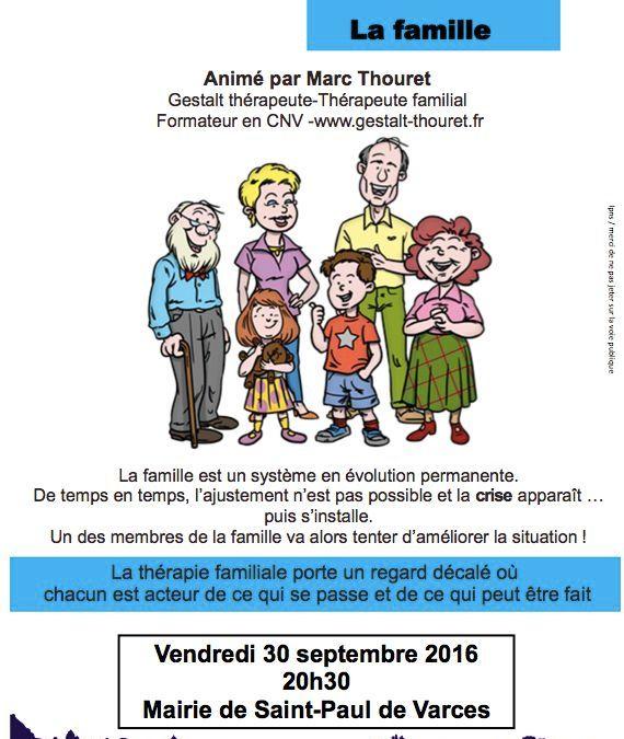 Atelier débat «La famille» : Vendredi 30 Septembre 2016 – Mairie de ST Paul de Varces