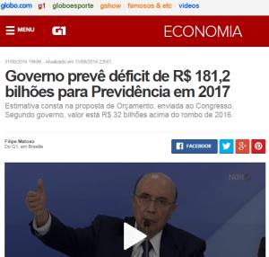 Governo prevê déficit de R$ 181,2 bilhões para Previdência em 2017