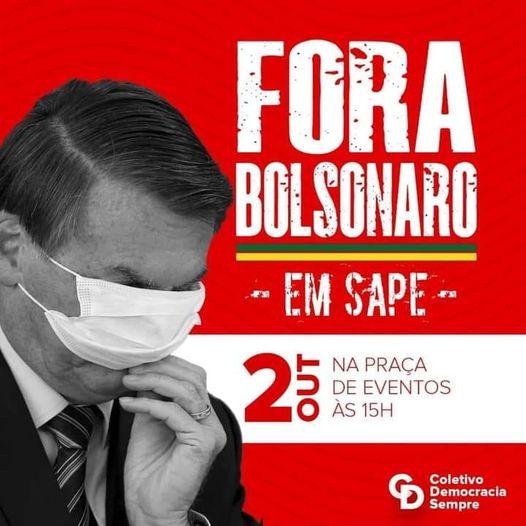 Coletivo Sapé de Luta promove ato contra Bolsonaro neste sábado, na Praça de Eventos em Sapé