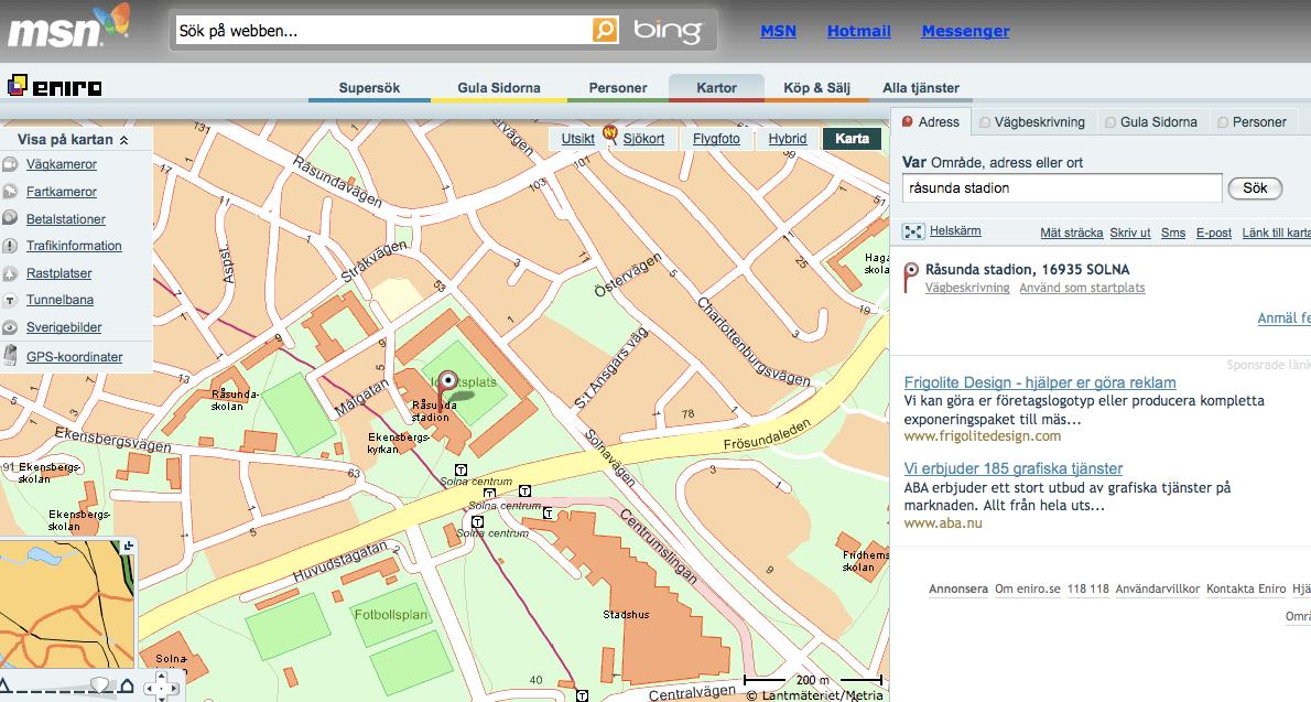 Eniro Providing Maps To MSN In Sweden Screenwerk - Map sweden eniro
