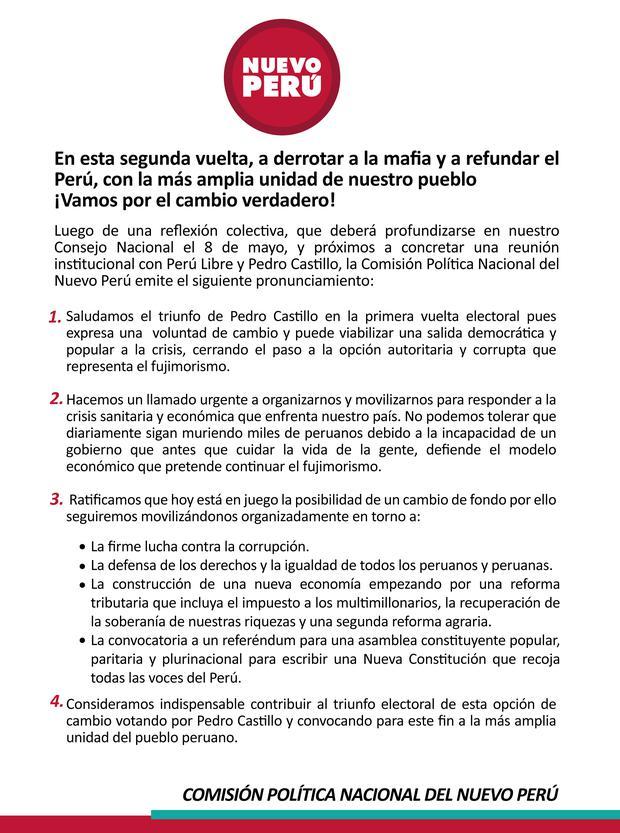 Comunicado de Nuevo Perú. (Foto: @NuevoPeruMov)