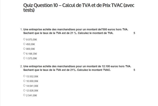 Quiz question 10 - Calcul de TVA et de prix TVAC