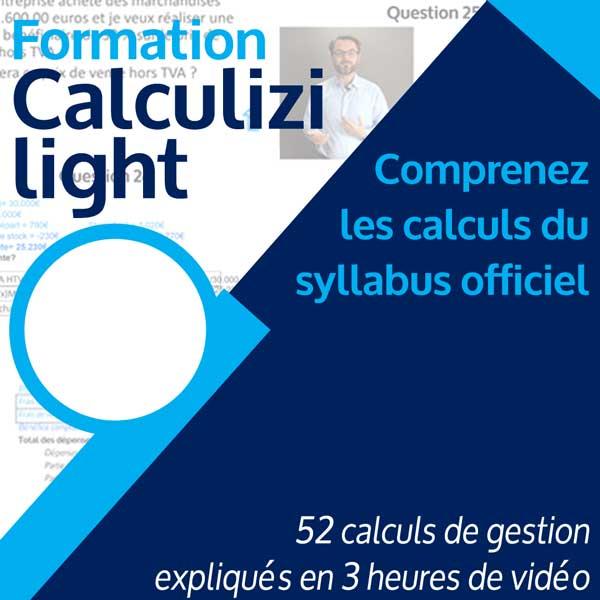 Image résumé formation gestion Calculizi light