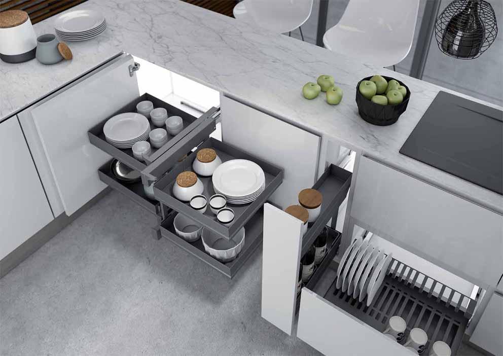 Per usare al cm gli spazi in cucina ti aiutano questi oggetti furbi, che si nascondono all'interno di basi e pensili o si mostrano a parete. Accessori Per Mobili Cucina Spazi Interni Mobili Cucina Inoxa