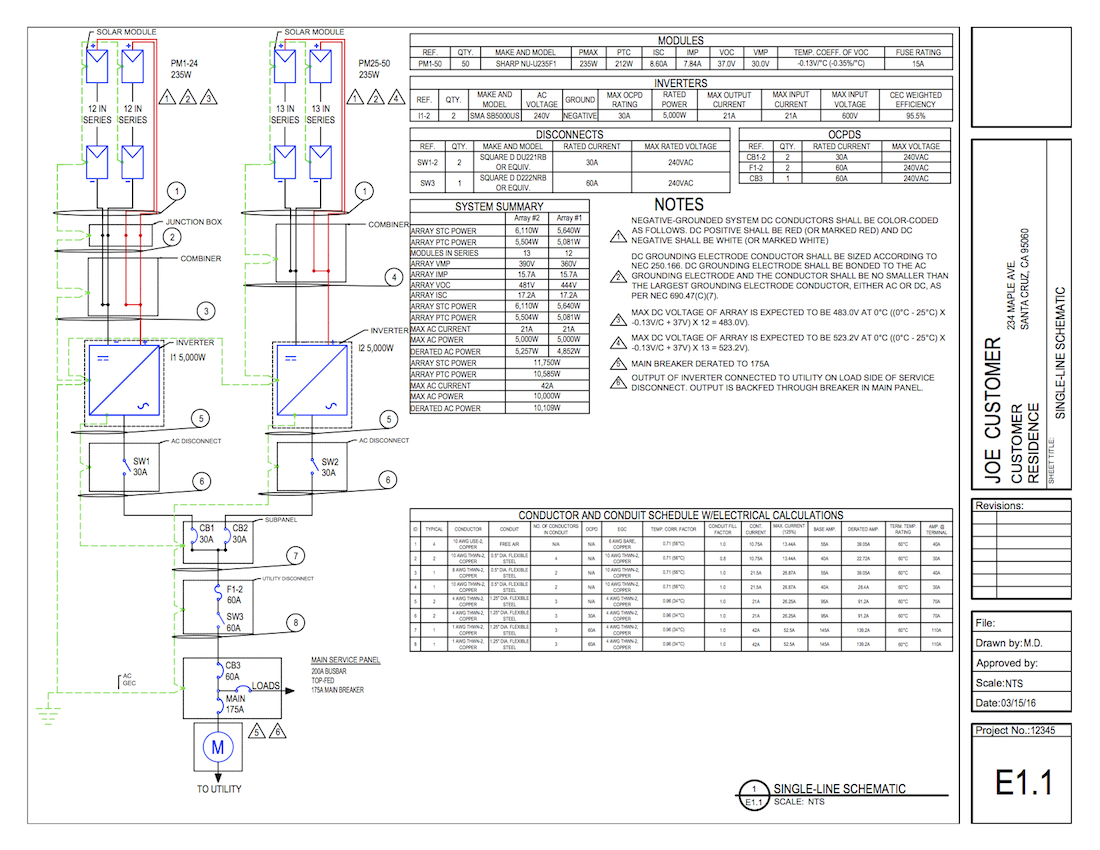 Solar Single Line Diagrams are Included in Our Permit