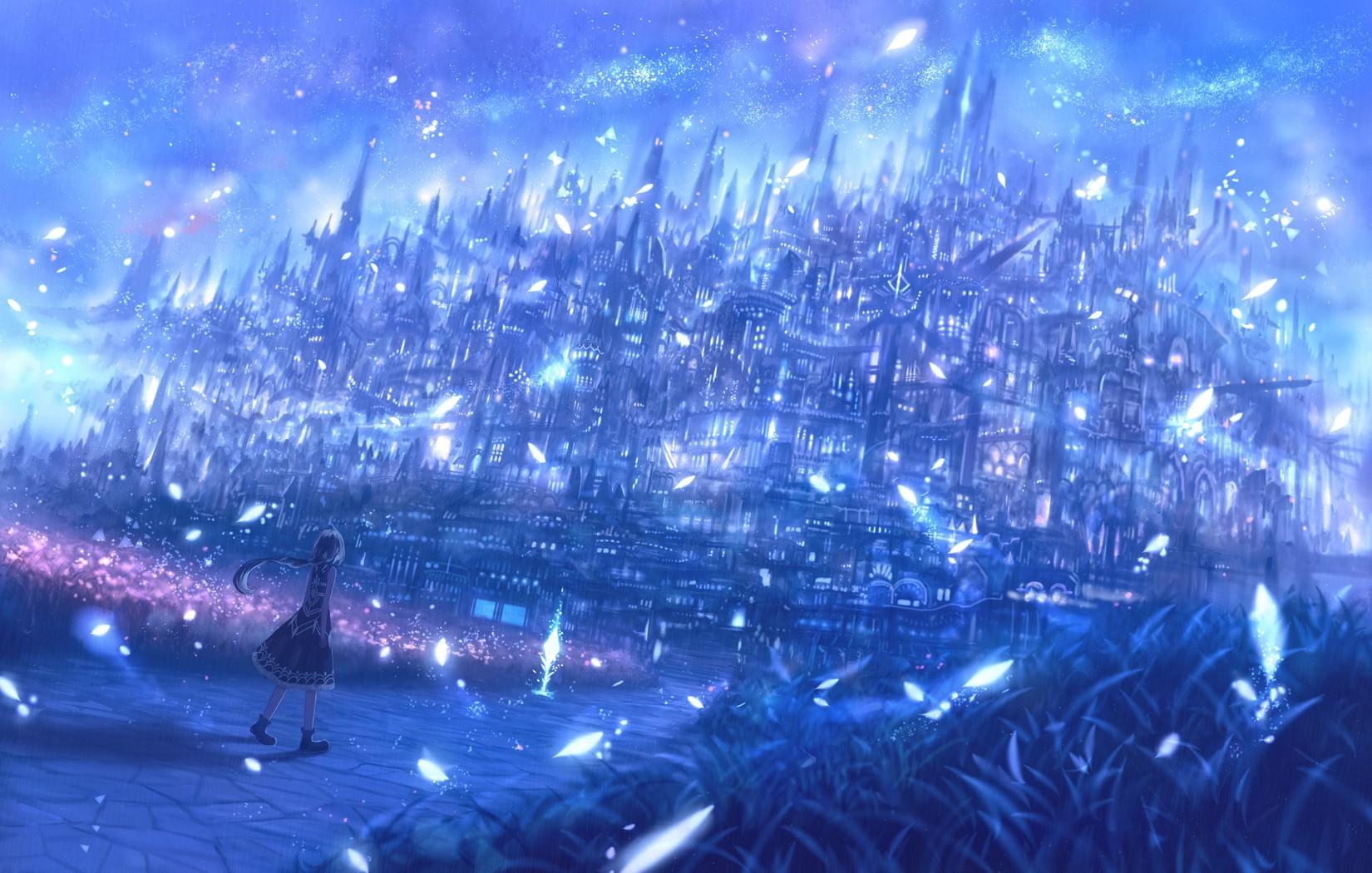 Anime Girl Looking At Sky Wallpaper 배경 화면 1650x1050 픽셀 건물 판타지 아트 잔디 마법 1650x1050