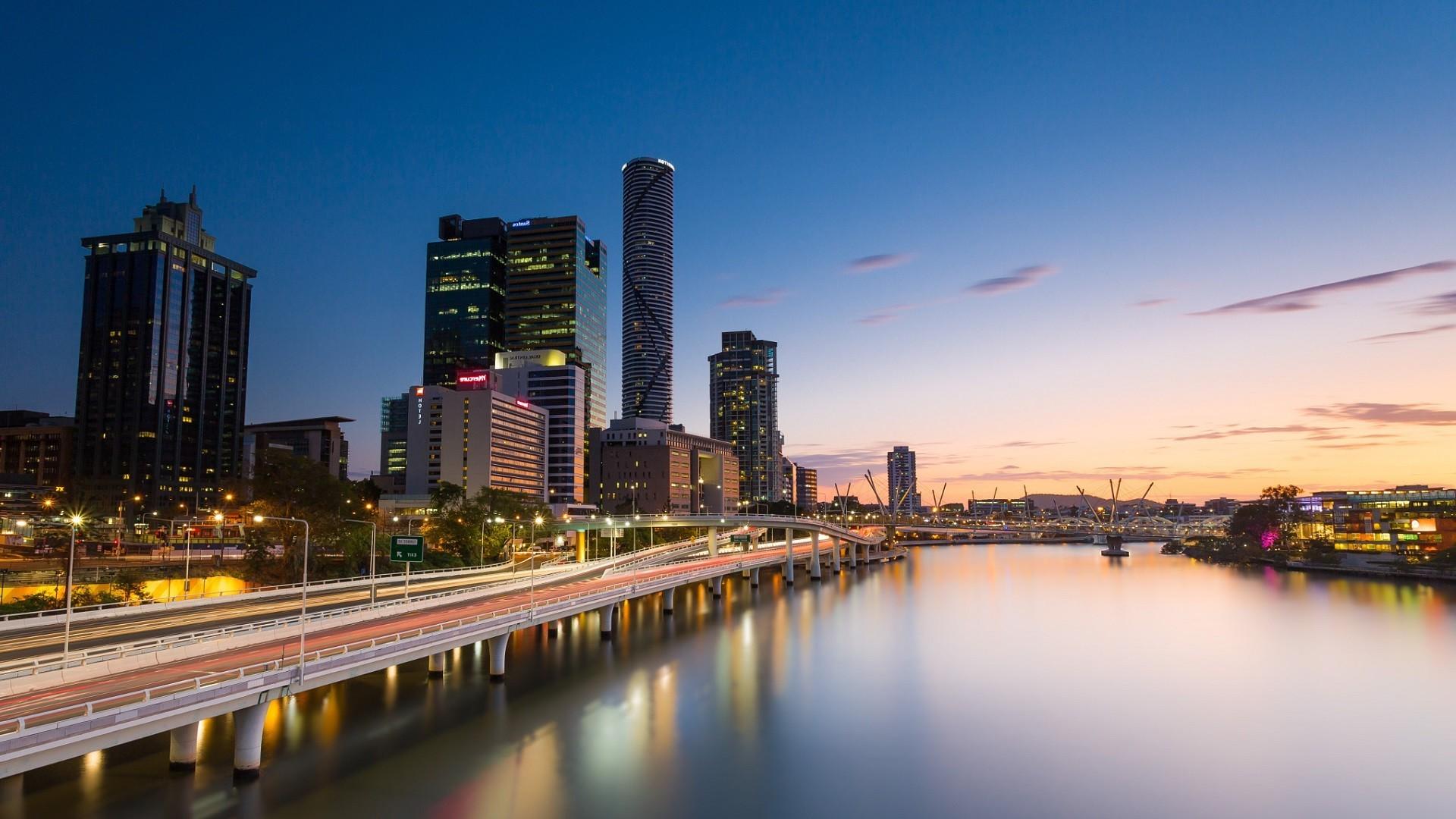 Iphone X Miami Wallpaper 배경 화면 1920x1080px 호주 브리즈번 시티 도시 풍경 반사 강 마천루 일몰