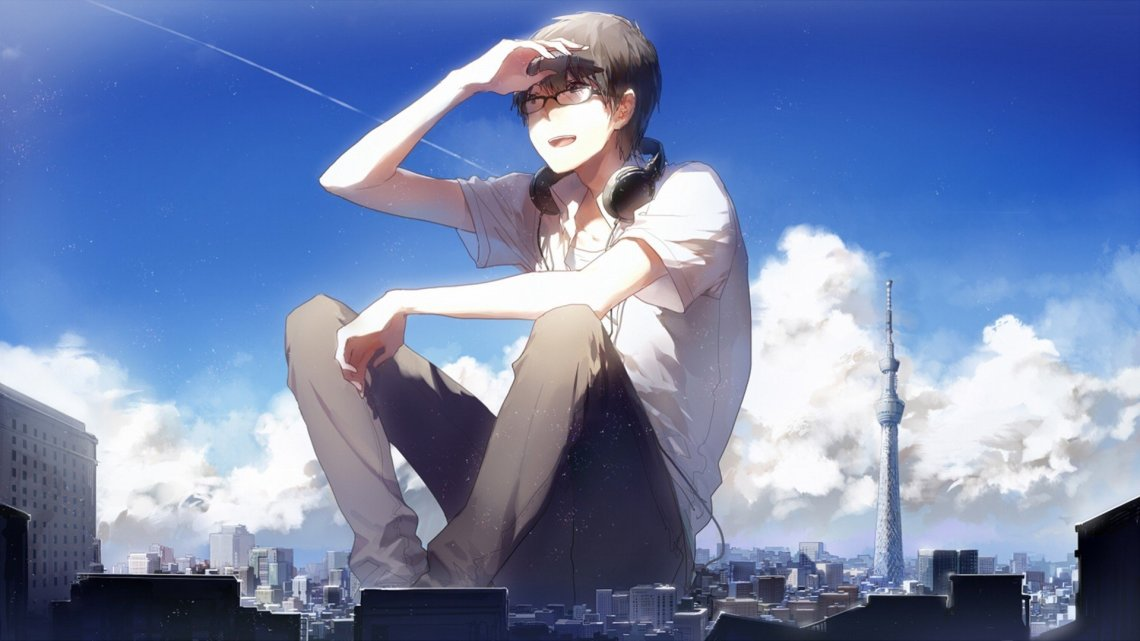 Wallpaper 1920x1080 Px Anime Boys City Giant Glasses Headphones Original Characters 1920x1080 Coolwallpapers 1517251 Hd Wallpapers Wallhere