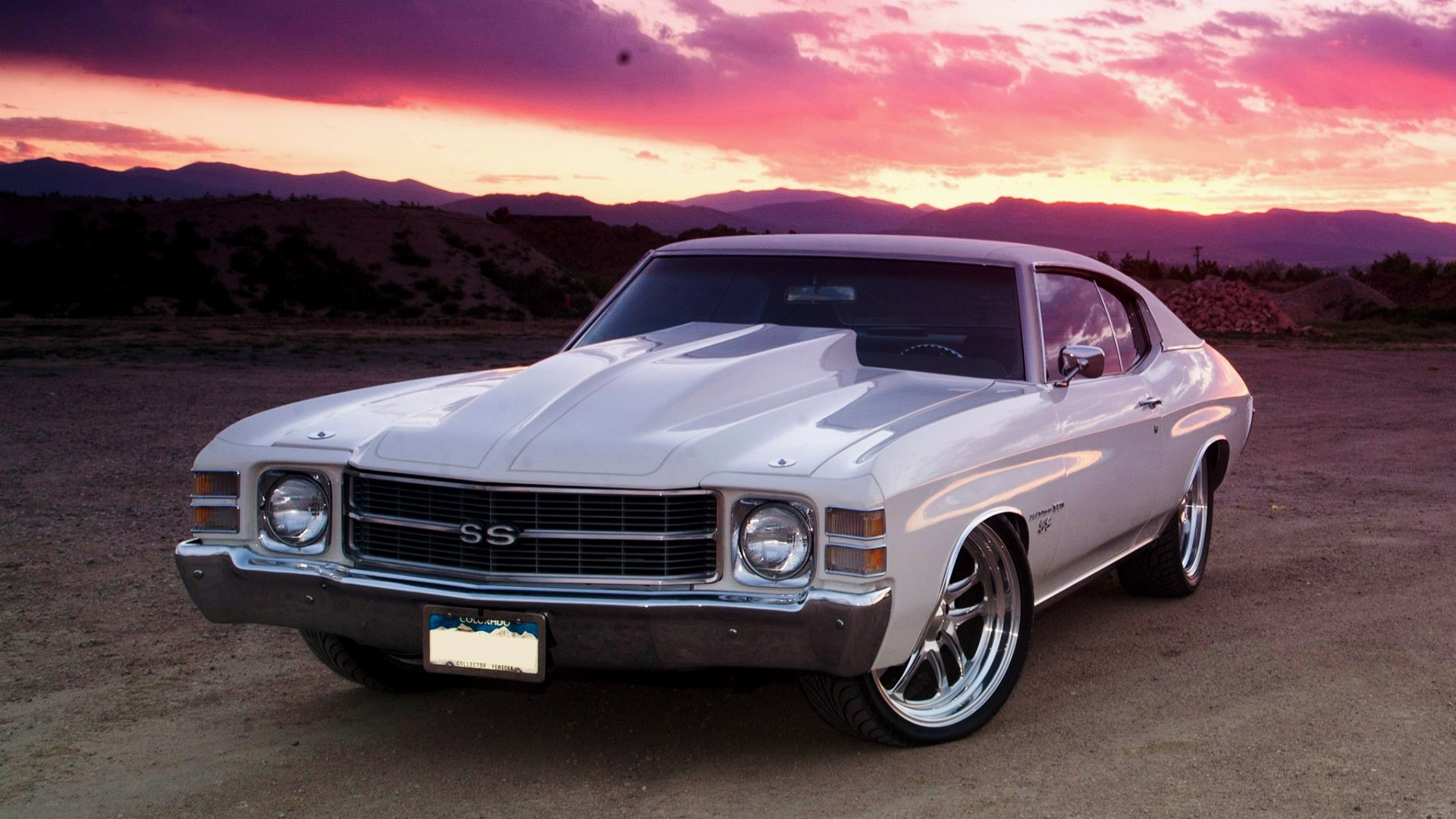 Classic Old Car Wallpapers 1600x900 Wallpaper Chevrolet Chevelle White Front View Ss