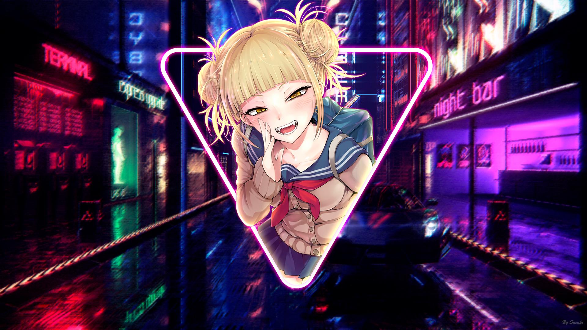 Enjoy boku no hero academia wallpapers in custom new tab themes. Wallpaper : Himiko Toga, anime girls, neon, city, Boku no ...