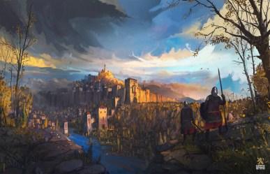 fantasy medieval river castle artwork ismail inceoglu tsarevets spear artstation balkans fortress battle wallhere cdnb painting behance
