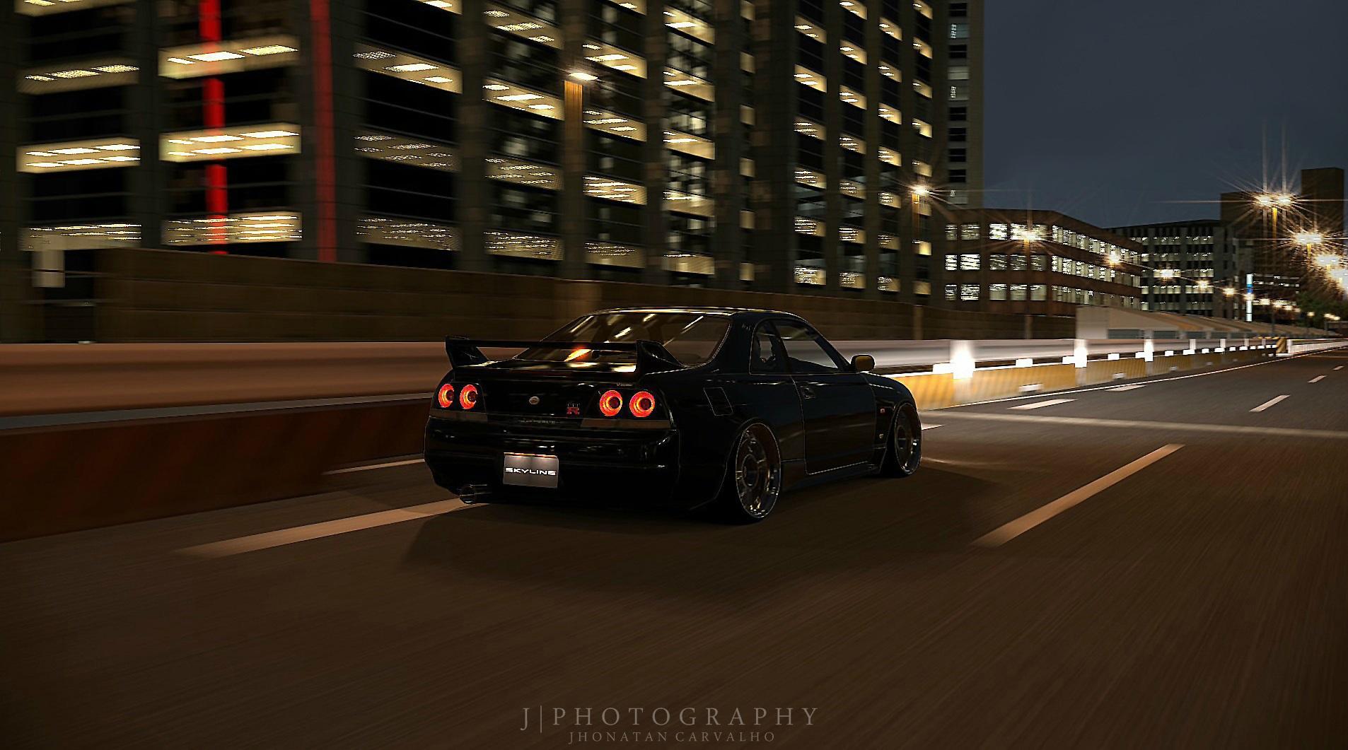 Stanced Car Wallpaper Hd Wallpaper Japan Night Skyline Nissan Sony Sports