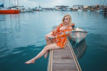 Wallpaper Kayla Erin Model Blonde Dress Dock Boat