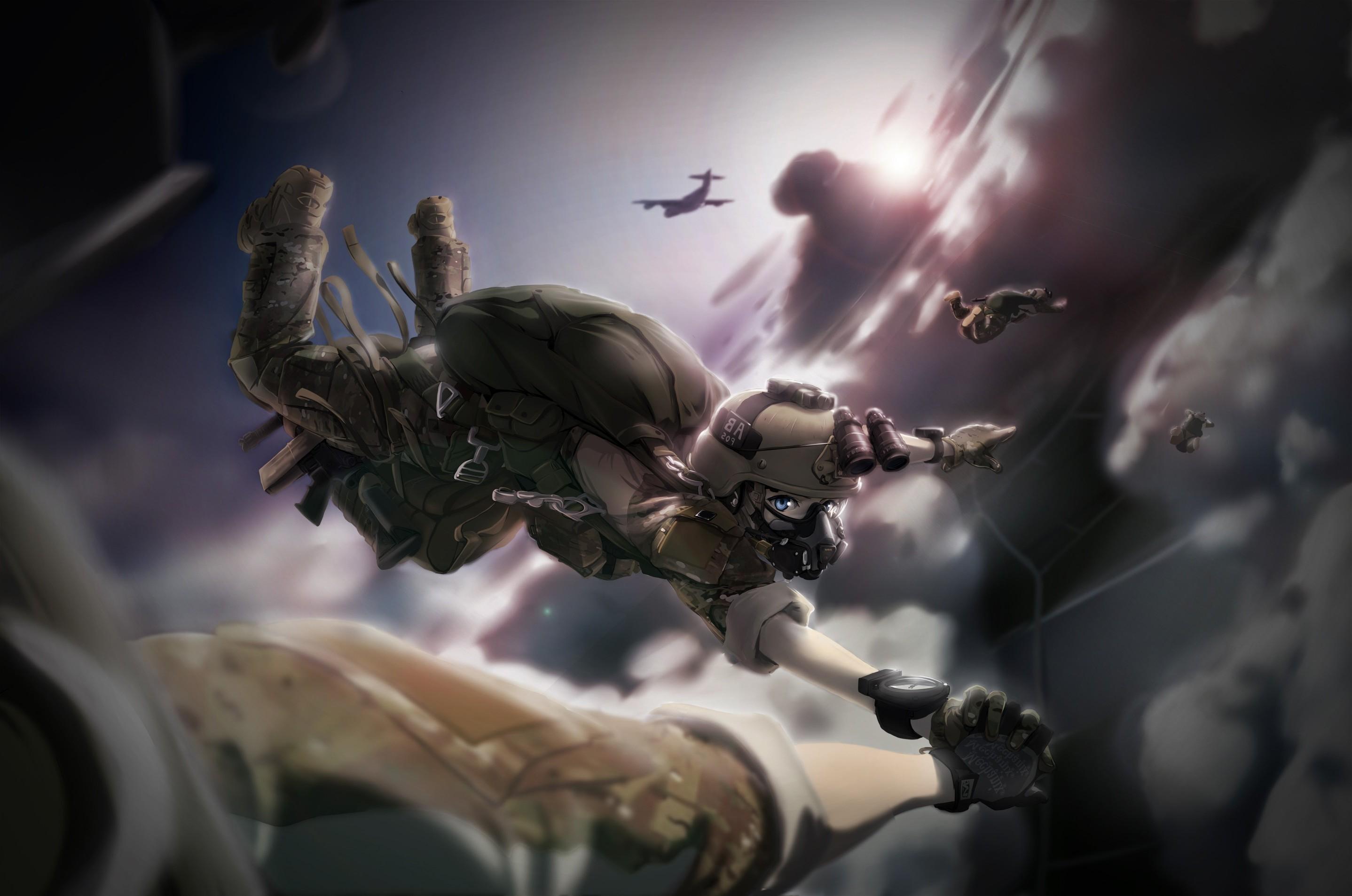 Girl With Guns Hd Wallpapers Wallpaper Anime Girls Military Mythology Tc1995 Sky