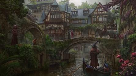 fantasy town medieval river bridge wizard building magic boat digital artwork wallpapers wallhere