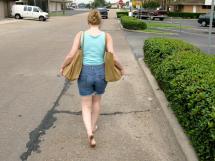 Wallpaper Barefoot Legs Road Dress Morning Fashion
