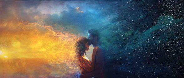 night hug clouds sky boy fantasy sun universe kiss magic fire stars sunset moment conceptual fineart hd wallpapers