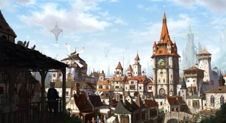 medieval fantasy church castle windmill town wallhere artwork hd 중세 artstation