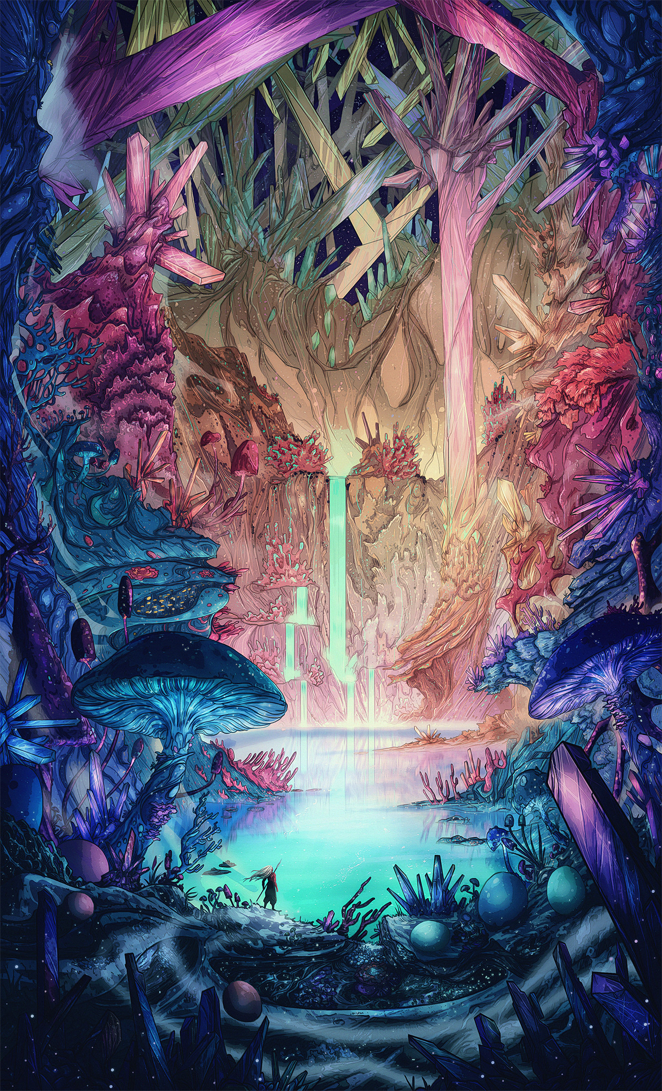 Cool Wallpapers Water Fall Wallpaper Colorful Lake Forest Fantasy Art Crystal