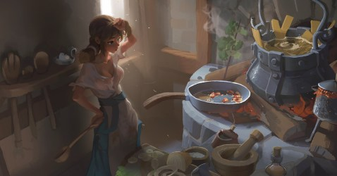 cooking fantasy artstation artwork kitchen medieval xun bo lin cook cat wallhere pasta wallpapers painting