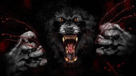 Wallpaper : digital art animals black background yellow eyes wolf demon fangs muzzles werewolves Werewolf blood spatter darkness screenshot computer wallpaper fictional character special effects mythical creature 1920x1080 OsumWalls