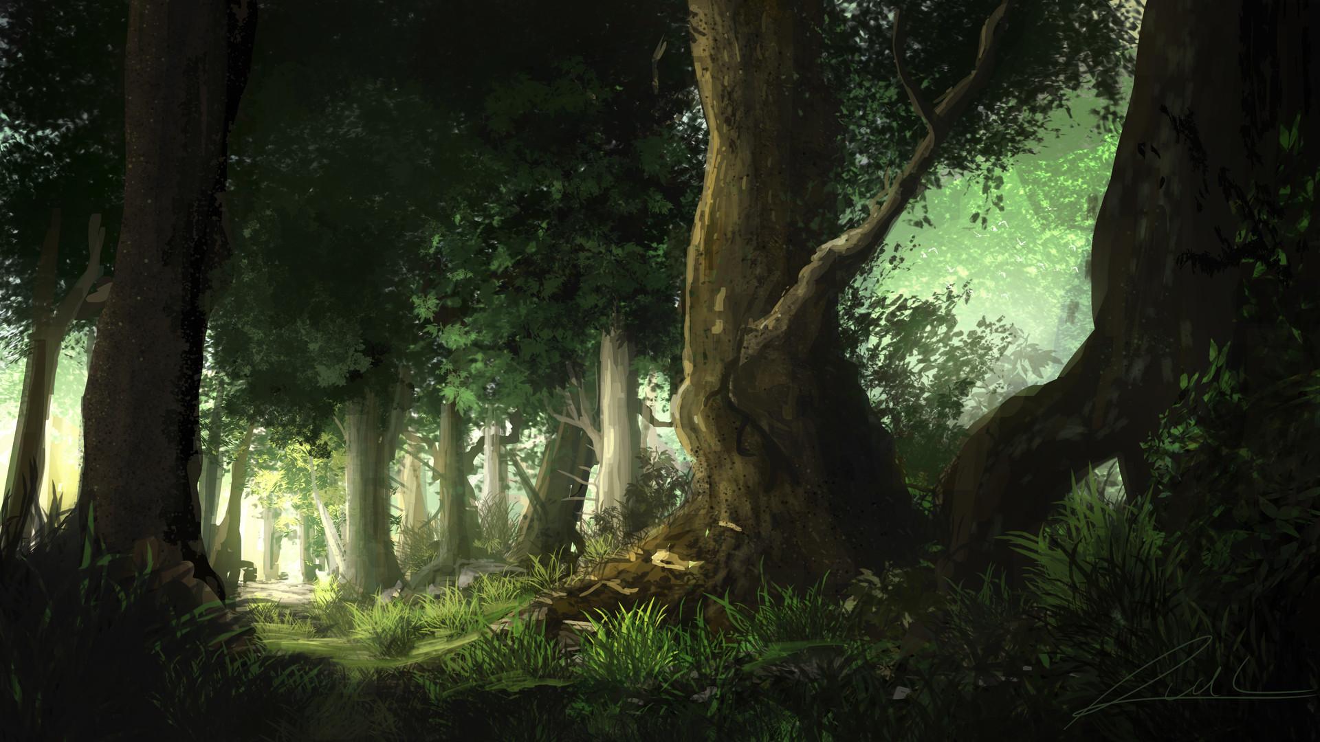Wallpaper  seni digital karya seni lukisan hutan