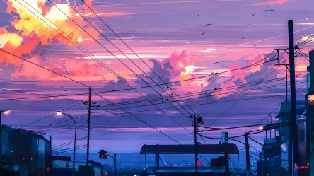 anime sunset painting clouds digital illustration environment town cold prints aenami lines artwork wallpapers hd wallhere paradise