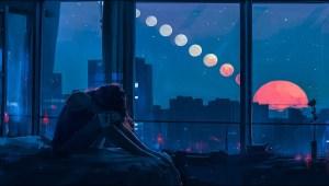 alone night window digital illustration painting aenami artwork sun wallpapers