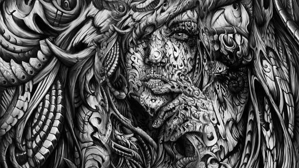 Black and White Abstract Art Paintings Woman