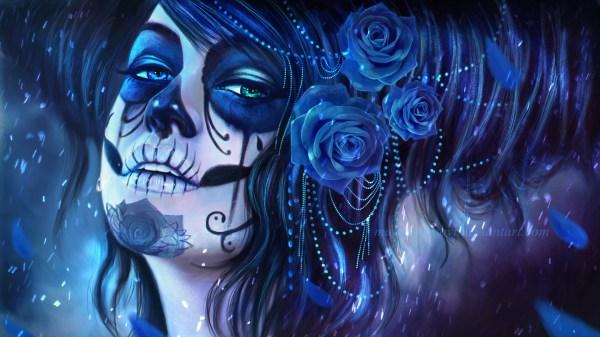 Day of the Dead Sugar Skull Girl Wallpaper